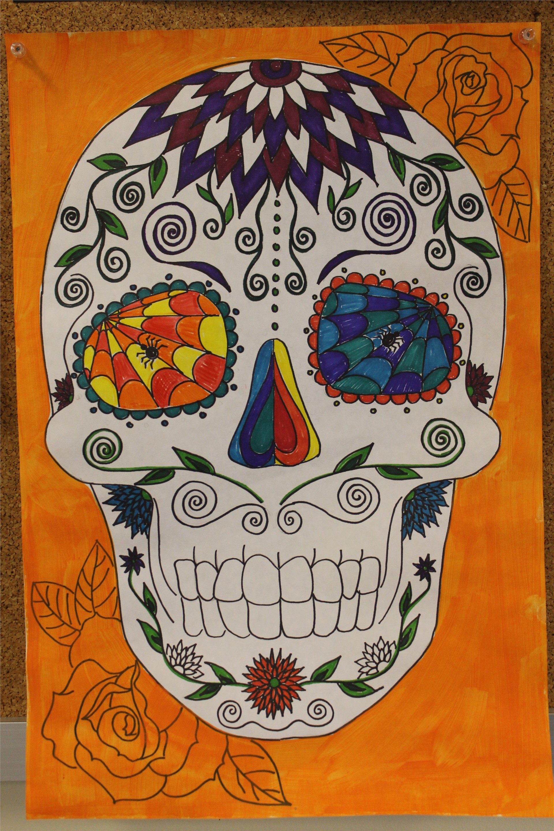 """Surgar Skull"" design for 6th Grade Art"
