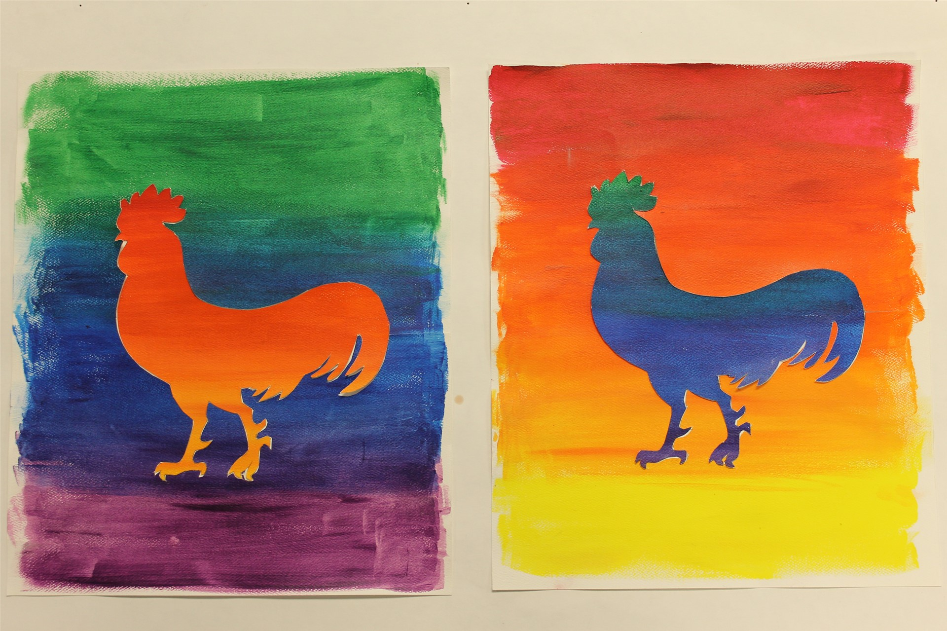 Warm/Cool color animals for 6th Grade Art
